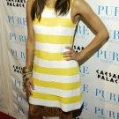 Eva Longoria 8x10 Photo - White & Yellow Stripe Dress #5