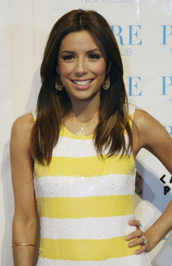 Eva Longoria 8x10 Photo - White & Yellow Stripe Dress #6
