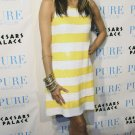 Eva Longoria 8x10 Photo - White & Yellow Stripe Dress #7