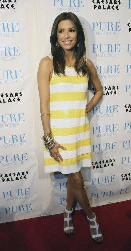 Eva Longoria 8x10 Photo - White & Yellow Stripe Dress #7
