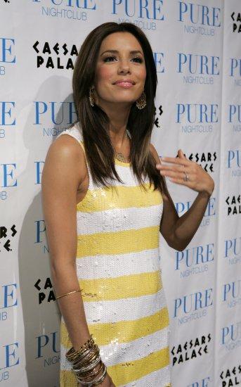 Eva Longoria 8x10 Photo - White & Yellow Stripe Dress #10