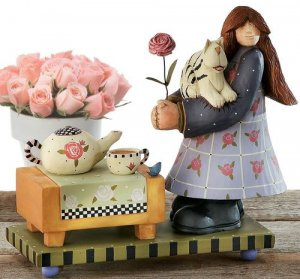 Willieraye Studio Collection Girl With Tea Table