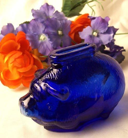 Cobalt Blue Glass Pig Bank