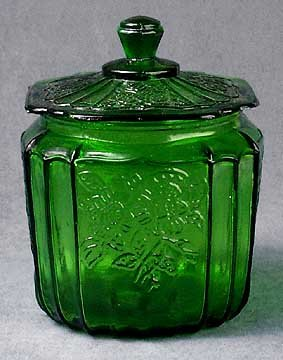 Green May Fair Style Open Rose Cookie Jar