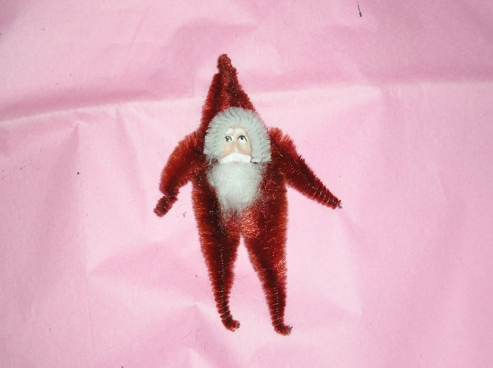 Chenille santa purplish red  3.5 inches