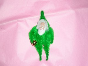 Chenille Santa Bright Green 3.5 inches with bell