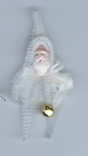 Chenille Santa White 3. 5  inch  clay face holding bell