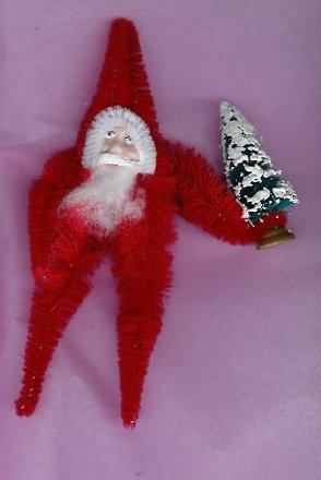 Chenille Santa RED 5  inch  clay face  holding tree