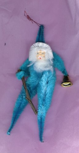 Chenille Santa BLUE  6.5  inch  clay face bell & switch