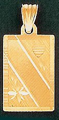 14 K Gold diamond cut engraveable slate - Text only