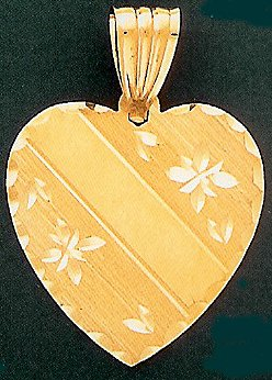 14 K Gold Diamond Cut Engraveable Heart - Text only