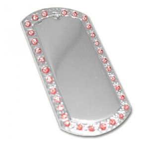 Nickel Pink Rhinestone Dog Tag with free chain - Picture / Text