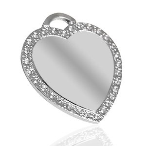 Beautiful Heart with Rhinestone frame - Nickel Silver color - Picture / Text