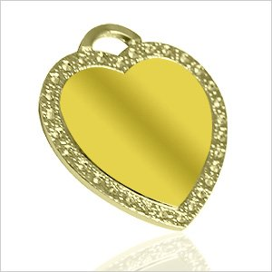 Beautiful Heart with Rhinestone frame - Nickel Gold color - Picture / Text