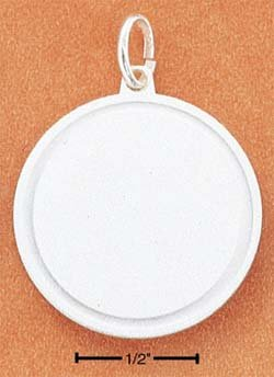 SS ROUND SATIN DISK W/ POLISHED BORDER ENGRAVABLE CHARM Picture or Text