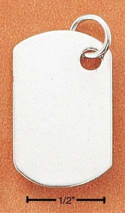 SS SHORT RECTANGULAR ENGRAVABLE DOG TAG CHARM Picture or Text
