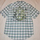 J.CAMPBELL PLAID CHECK GRAPHIC WHITE GREEN SLIM FIT CASUAL EVERY DAY SHIRT L