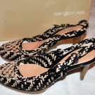 SERGIO ROSSI CROCHET BRAIDED BEIGE BLACK PLATFORM SANDALS PUMPS SHOES 38 8