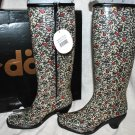 DAV FASHION VINE FLORAL PAISLEYS PRINT ZIP RUBBER RAIN BOOTS SHOES HEELS S 4/5