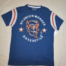 NEW ARIZONA JEAN COMPANY NY UNION WORKER DAREDEVILS BLUE T SHIRT TOP