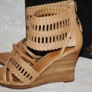 MAKOWSKY ANDREW WOVEN WOODEN PLATFORM LEATHER SHOES HEELS WEDGES SANDALS 10