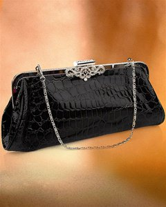 NEW CROCK-SKIN CLUTCH W/SILVER CHAIN & RHINSTONE ACCENT