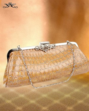 NEW CROCK-SKIN TAUPE CLUTCH W/SILVER CHAIN & RHINSTONE ACCENT
