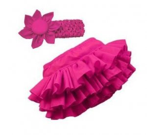 Baby Girl Pink Bloomer Ruffle skirt With Head-band -Set.  Fits 3-9months