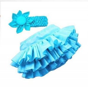 Cute Baby Girls' Blue Bloomer Ruffle skirt With Head-band -Set.  Fits 6-12months
