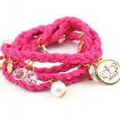 Ships Free Pink  Braided Leather Bracelet Wristband Strand With  Charms