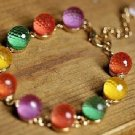 Colorful crystal Ball Candy Beads Charms Link Bracelet 9.5&quot; (inches)
