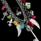 Ships Free-Gorgeous  MULTI COLORs of  Multi Charm Chunky  Necklace & EARRING Set