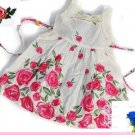NEW Cute Pink Rose Floral Girl's Creme Color  Dress SZ  5T,
