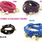 Ships Free  Braided Leather Bracelet Wristband Strand With  Charms.