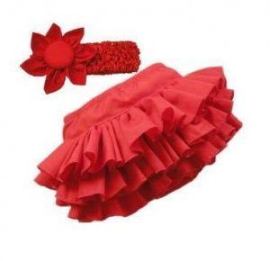 Baby Girl Red Bloomer ruffle Skirt W/T Headband. Fits 24-36 Months