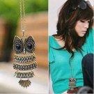 "Cute Antique Vintage style Big Eye Owl Pendant & Chain Necklace 25"""