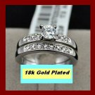 18k Gold Plated CZ Accent Wedding/engagement solitaire Ring Set -Sz 8