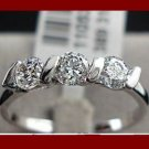 18K White Gold Plated 0.25ct 3 Pieces CZ Ladies Ring- sz 6.5