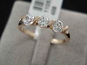 18K Rose Gold Plated 0.25ct 3 Pieces CZ Ladies Ring- sz 7