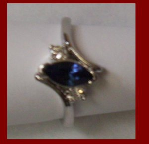 18K Gold Plated Women Blue Sapphire Women's Ring-SZ 6
