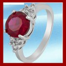 18k White Gold Plated Red Garnet Gem stones Ring Sz 8