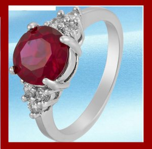 18k White Gold Plated Red Garnet Gem stones Ring Sz 8