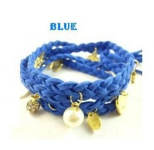 Braided Leather Charms Bracelet Wristband Strand.