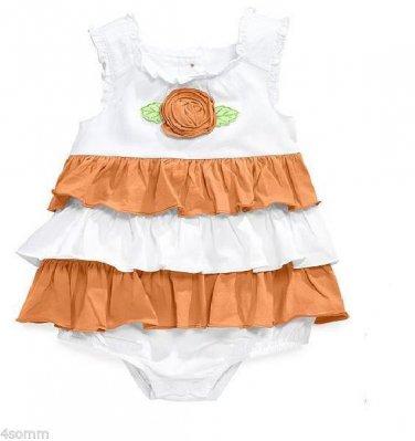 First Impressions Orange/white Baby Girls Romper Ruffled Bodysuit 12 Months