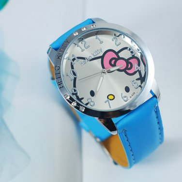 Cute Hot Blue Hello Kitty  Ladies/Girls Crystal Quartz Big  Wrist watch