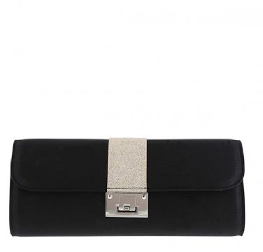 Fioni Women's Women's Glitter Black/Silver Clutch Purse