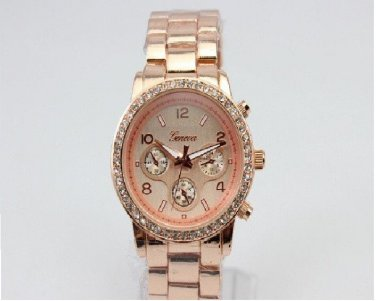 Geneva 'Boyfriend' Ladies Crystal Steel Rose Gold Wrist Watch