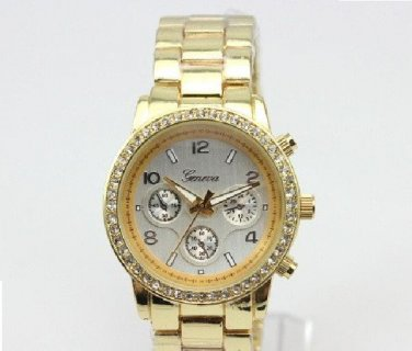 Geneva 'Boyfriend' Ladies Crystal Steel Yellow Golden Wrist Watch