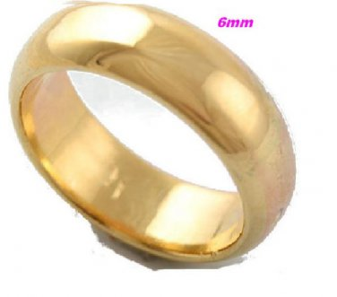 18K  Yellow Gold Filled Women/Men Plain Ring Band  SZ 8 (6mm)
