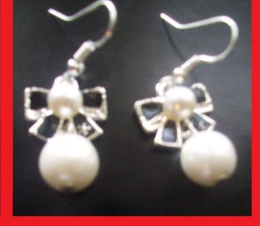 pearl-Like Black Bow Drop women/Girls Drop Dangle earrings